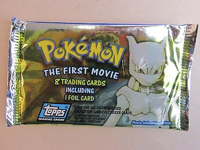 rare SEALED the first movie POKEMON vintage cards + foil BOOSTER PACK topps H01