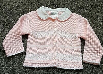 Nursery Time Baby Girls pink Chunky Knit Cardigan. Size 0-3 Months. BRAND NEW.