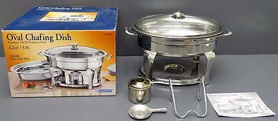 Tramontina Oval Chafing Dish Premium Stainless Steel 4.2 Qt 2 Food Pans