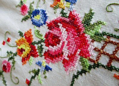 """LARGE ROUND TABLECLOTH DECORATED WITH HAND EMBROIDERY & CROCHET-62"""" dia"""