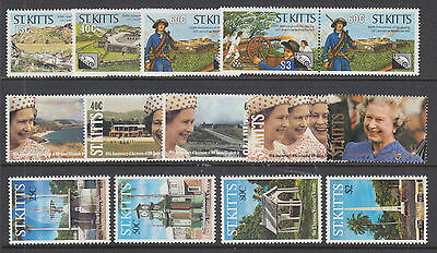 St. Kitts Sc 285//346 MNH. 1990-1992 issues, 3 complete sets, VF