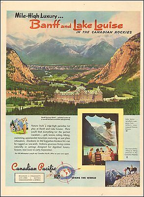 1950's Vintage ad for Canadian Pacific Railway`Banff Lake Louise photo (012516)