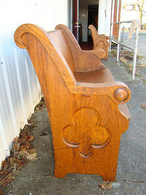 "49"" wide 100+ years old antique oak church pew from Chicago church"