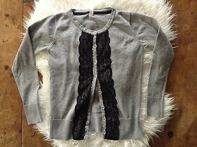 CHEROKEE girls gray lace front cardigan sweater sz L 10-12