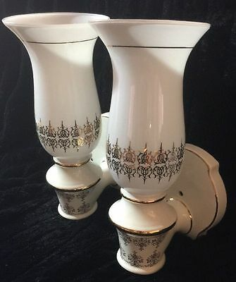 Vintage Art Deco Pair of Porcelain Wall Sconces With Chimney's Light Fixtures