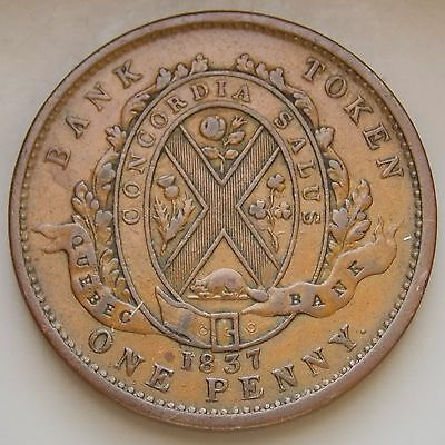 1837 LC-9B4 Lower Canada Canadian Colonial Deux Sou 1 Penny Quebec Bank Token