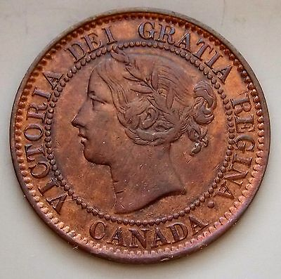 1859 9 Over 8 -  Province Of Canada Large 1 Cent Old Canadian Victoria Coin