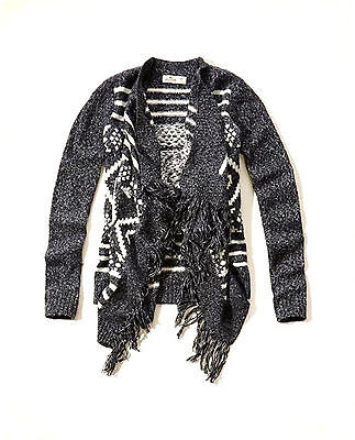 New Hollister Womens Open Front Fringe Sweater  Knit Top Wrap Long Cardigan Sz S