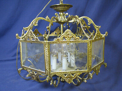 GOLD/BRASS Ormolu FRENCH? ORNATE 8-SIDE 6-LIGHT CHANDELIER Etched Glass ANTIQUE