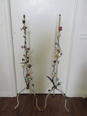 FABULOUS PAIR Old Vintage Metal STANDS with Tole FLOWERS & Leaves CHIPPY PATINA