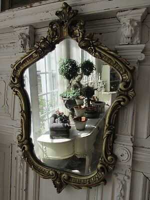 GORGEOUS Very Shapely Old Vintage FRENCH WALL MIRROR Ornate Gesso Details ROSES
