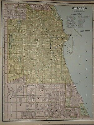 Vintage 1885 Chicago Map Old Antique Atlas Map Free S&h 85/031417