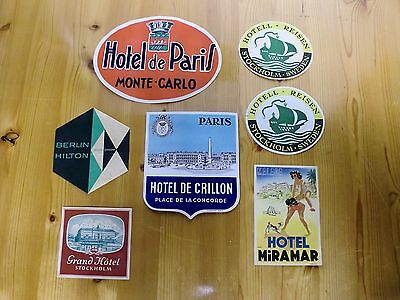 Vintage Lot of 5 Luggage Baggage Travel Hotel Labels Decals Stickers NEW