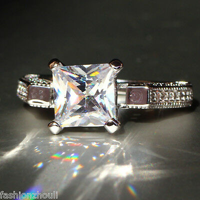 Fashion New 925 Silver Filled White Sapphire Birthstone Engagement Wedding Ring
