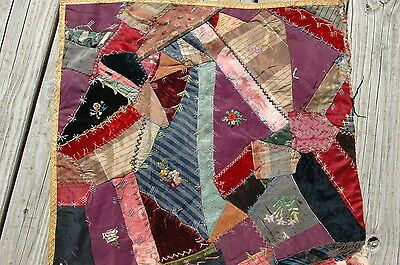 Antique Crazy Quilt Block Colorful Intricate Stitching Embroidered Flowers