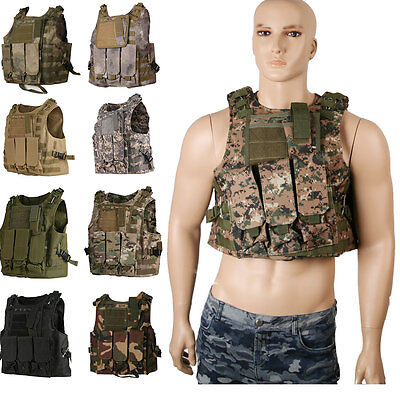 Airsoft Molle Combat Tactical SWAT Vest Military Paintball Wargame +Sponge Plate