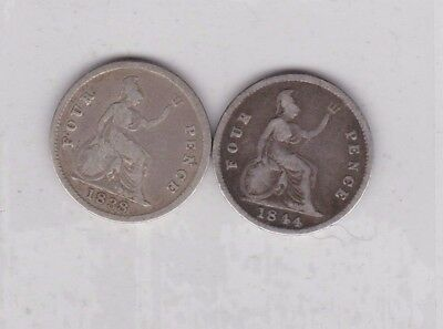 1838 & 1844 Victorian Silver Four Pence Coins In Fine Condition