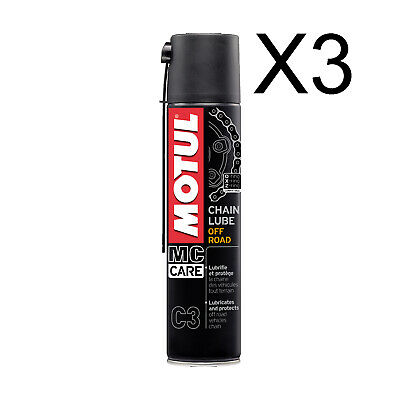 3 x 400 ML Grasso Spray Per Catena Moto Motul C3 Chain Lube Off Road e Quad