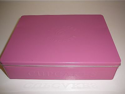 Pink Cupcakes Tin Storage Rectangle Decorative Display Container