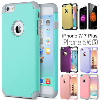 For Apple iPhone 6 6s Plus Hybrid Shockproof Rugged Rubber Protective Case Cover