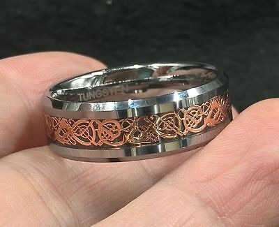 GENUINE 8mm Men Wedding Bands Rose Gold Celtic Dragon fibre Inlay Tungsten Ring