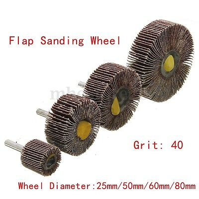 2/4x 25mm-80mm Flap Wheel Disc Sanding Abrasive For Drill 6mm Shank 60/80 Grit