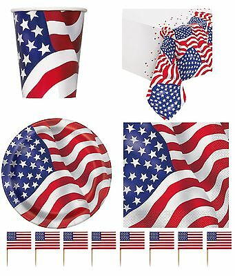 USA American Flag Party Tableware Supplies Decorations Independence Day 4th July