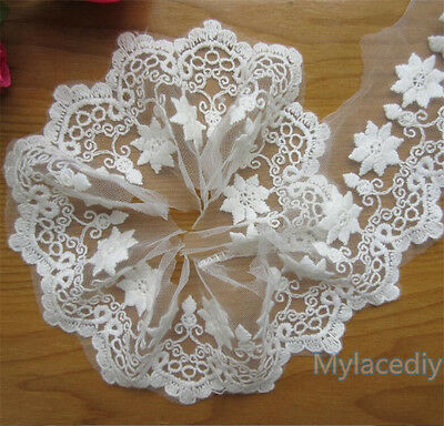 5 yd Embroidered Cotton Net Lace Edge Trim Wedding Ribbon Applique Sewing Patch