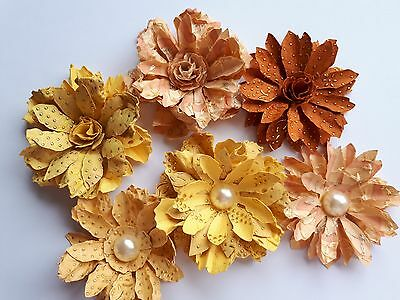 6 x Handcrafted SHABBY CHIC Mulberry Paper Flowers 4.5-8cm PAPER CRAFTS & BOXES
