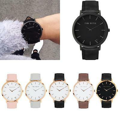 Luxury Women Men Casual Quartz Analog Gold Leather Band Wrist Watches