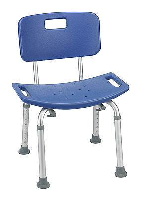 Drive Medical Bathroom Safety Shower Tub Bench Chair With Back Blue 12202Kdrb-1