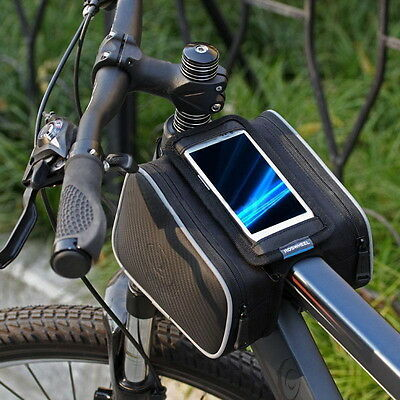 Bike Bicycle Cycling Bag Frame Front Tube Pannier Saddle Tube Pouch+ Phone Case