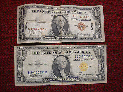 Ser. 1935A U.s. $1 Hawaii & North Africa Notes - Unique - You Get Them Both