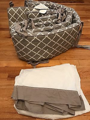 Pottery Barn Kids Crib Bumper & Crib Skirt Dahlia Grey/Taupe Pattern