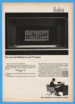 1966 Friden Singer Vintage 130 Electronic Calculator Can't Get Batman Photo Ad