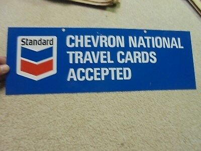 Vintage Standard Chevron National Travel Cards Accepted Sign