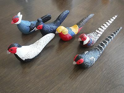 6 pc set - Pheasant Bird figure figurine lot - carved wood ?  4""