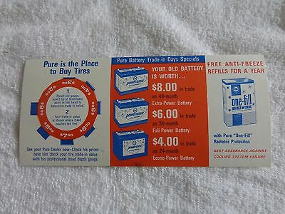 VINTAGE + PURE OIL COMPANY + Tire & Battery Advertisment Card + NOS