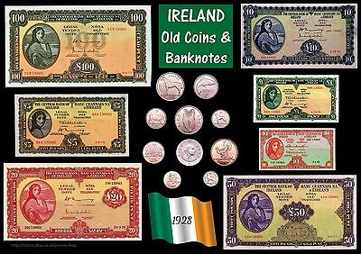 IRELAND Old Coins & Banknotes poster A3 - rolled Irish EIRE Lady Lavery *[IRECB]