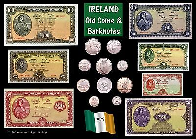 Old Coins & Banknotes Ireland poster A3 (rolled) Irish EIRE Lady Lavery [IRECB]