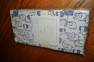 Pottery Barn Kids Crib Fitted Sheet - Camden - elephants blue and white