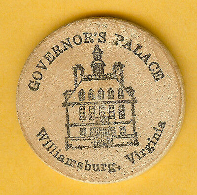 Vintage Wooden Nickel Governor's Palace Williamsburg Virginia
