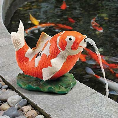 Design Toscano Kohaku Asian Koi Piped Spitter Statue Garden Ornament