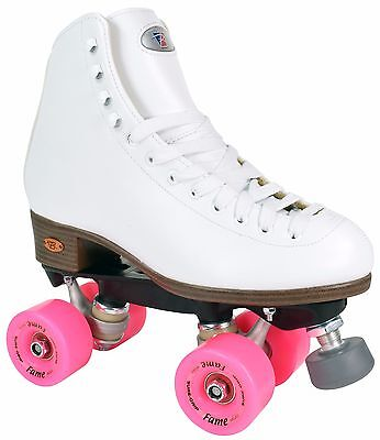 Riedell 111 Fame Roller Skates Traditional High Top Artistic Skate Pink Wheels