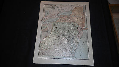 1881 Appletons Mid Atlantic States Us Color Map  12 X 9 1/2 See Others In Store