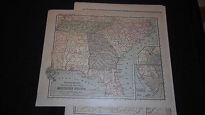 1881 Appletons Southern  States Us Color Map  12 X 9 1/2 See Others In Store