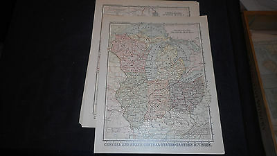 1881 Appletons Sectional #5  States Us Color Map  12 X 9 1/2 See Others In Store