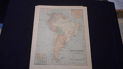 1881 Appletons South  America Color Map  12 X 9 1/2