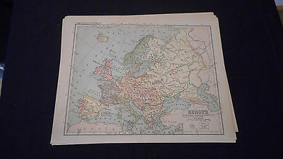1881 Appletons Europe Color Map  12 X 9 1/2