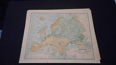 1881 Appletons Physical Map Of Europe Color Map  12 X 9 1/2